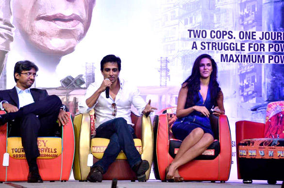 Neha Dhupia and Sonu Sood During The Press Conference Of Maximum