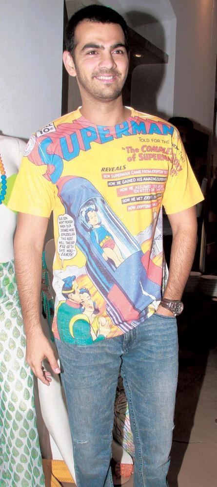 Karan Grover Sports a Superman T Shirt at The Lauch of International Swimwear Brand