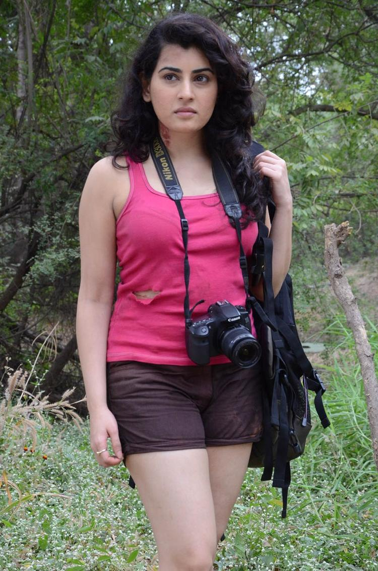 Archana Hot Gorgeous Pic At Panchami Telugu Movie Press Meet In Mini Dress