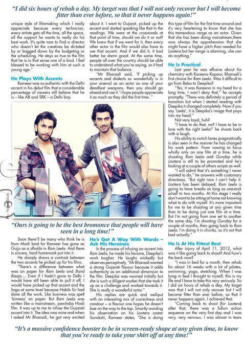 Ranveer Singh In Film Street Journal January 2013