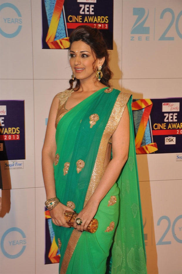 Sonali Bendre Looked Gorgeous In Saree At Zee Cine Awards 2013