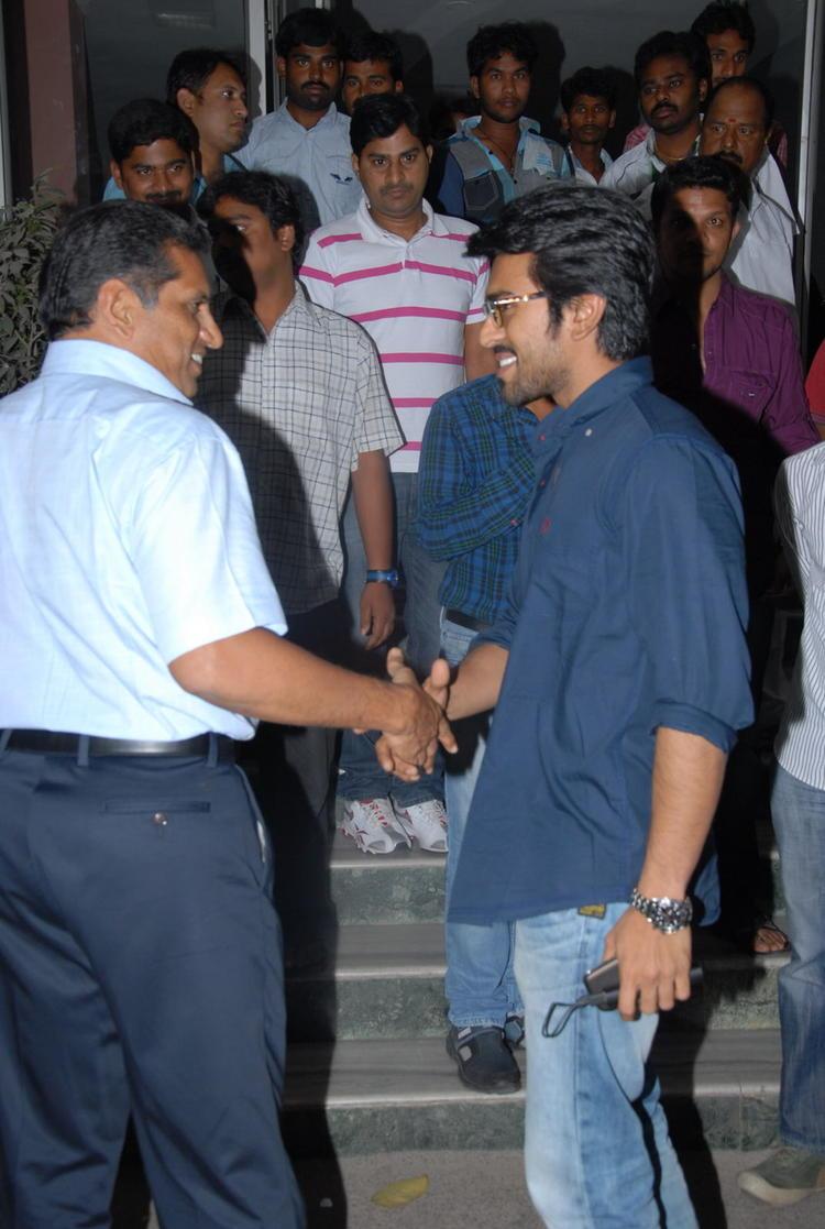 Ram Charan Shake Hand Photo Clicked At Nayak Movie Premier Show