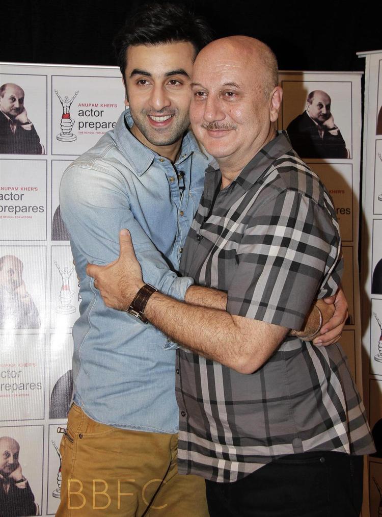 Anupam Kher And Ranbir Kapoor Hugs Still