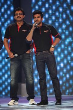Daggubati Venkatesh And Ram Charan Teja During The CCL Season 3 Red Carpet