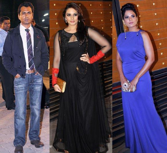 Nawazuddin,Huma And Richa Posed For Camera At Filmfare Awards 2013