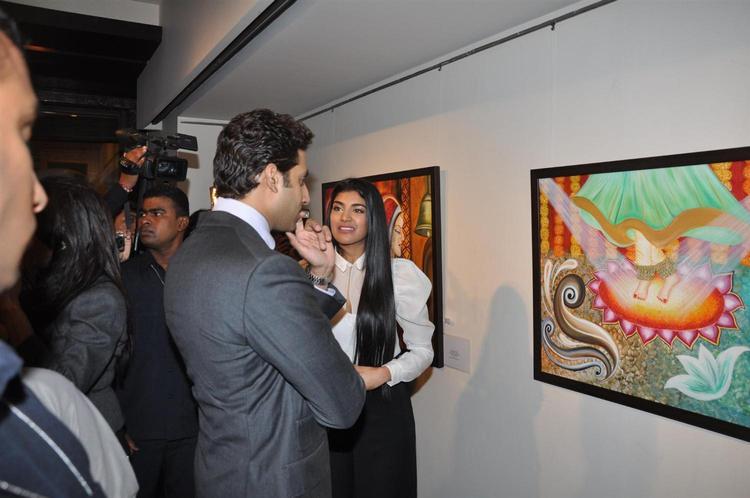 Abhishek With Radhika Snapped At Art Exhibition Of Radhika Goenka