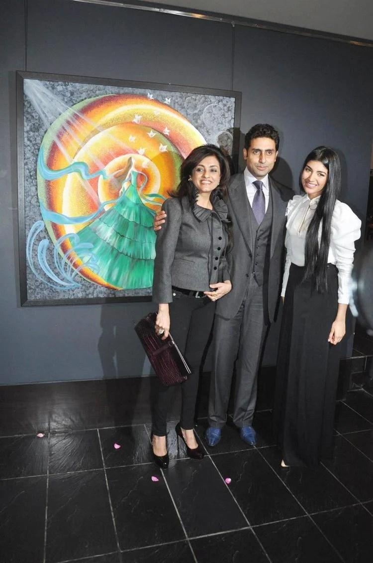 Abhishek,Chaya And Radhika Flash A Smile At The Launch Of Radhika Goenka Art Exhibition Of Radhika Goenka