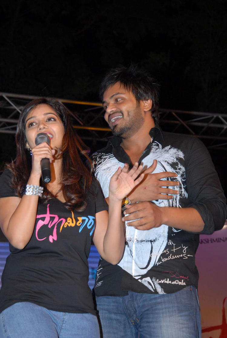 Swati Speaking Still And Manchu Manoj Looks On At Swamy Ra Ra Audio Release Function