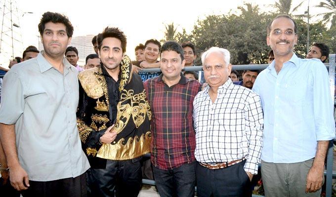 Kunaal,Ayushmann,Bhushan,Ramesh And Rohan Photo Clicked At First Look Launch Of Nautanki Saala