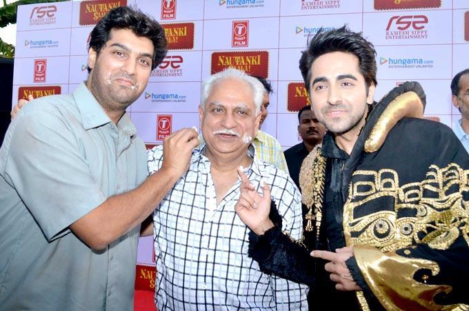 Kunaal,Ramesh And Ayushmann In A Light Mood At First Look Launch Of Nautanki Saala