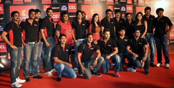 Venkatesh And Charmi With The Team Snapped At Celebrity Cricket League Curtain Raiser 2013