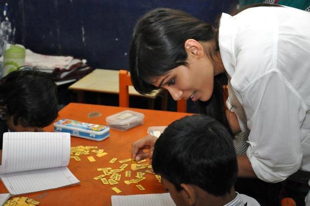Freida Snapped In An Education Institute Run By PLAN For Mumbai Slum Kids