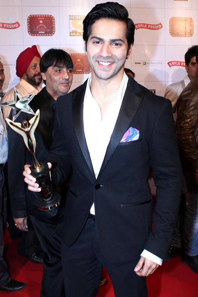 A Beaming Varun With The Trophy At Stardust Awards Function
