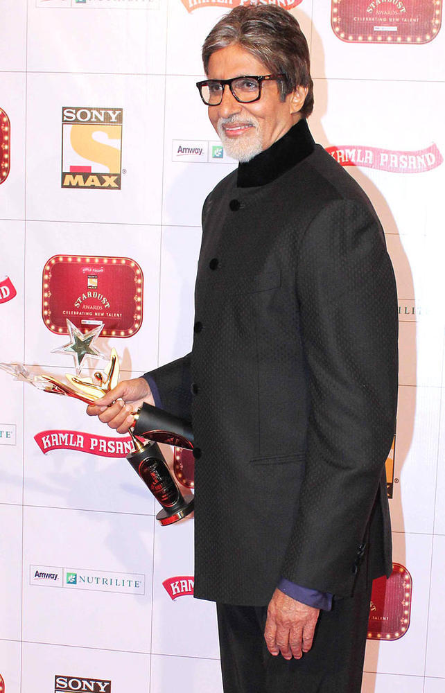 Big B With Star Of The Century Trophy At Stardust Awards Function