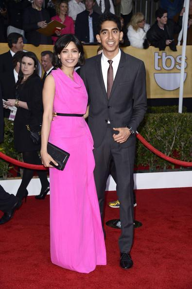 Freida Pinto And Dev Patel In Red Carpet Posed For Camera At The 19th Annual SAG Awards 2013