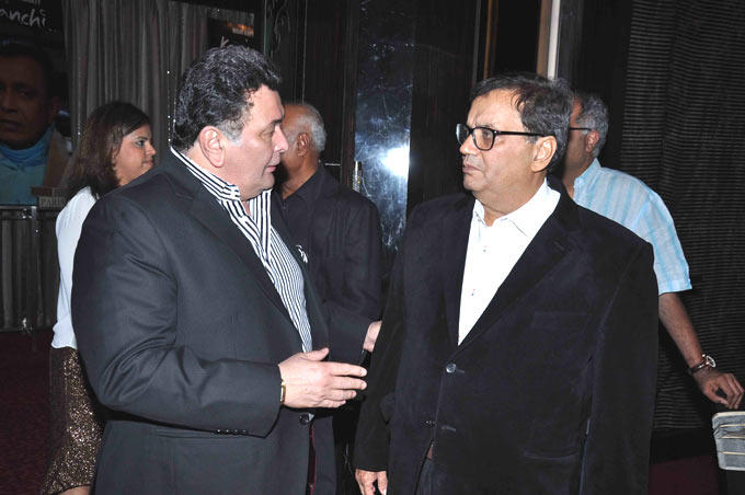 Rishi And Subhash In The Middle Of A Conversation At Subhash Ghai Birthday Bash