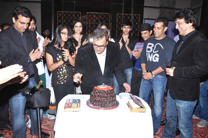 Subhash Ghai Cuts His Birthday Cake As The Others Look On At Subhash Ghai Birthday Bash