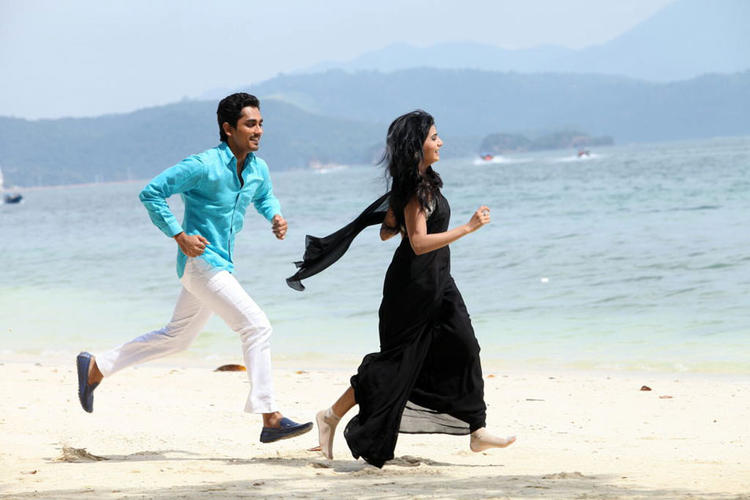 Siddharth And Samantha Running In Beach Photo From Movie Jabardasth
