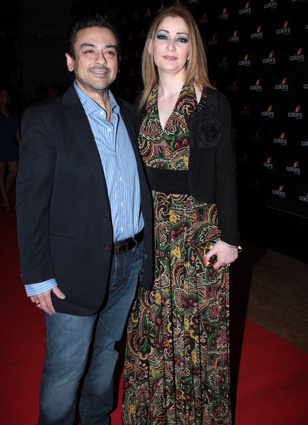 Adnan Sami With Wife Zeba In Red Carpet At Colors 4th Year Celebration Bash