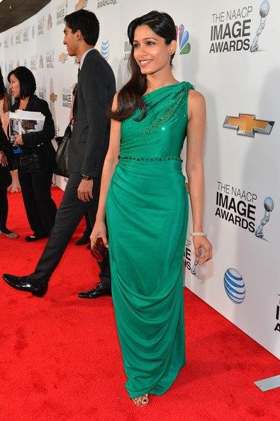 Freida Pinto Strikes A Pose In Red Carpet At The 44th NAACP Image Awards
