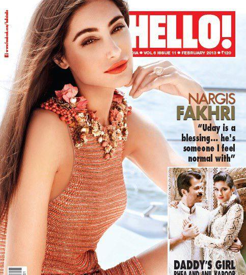 Nargis Fakhri Glamour Look On The Cover Of HELLO! India February 2013