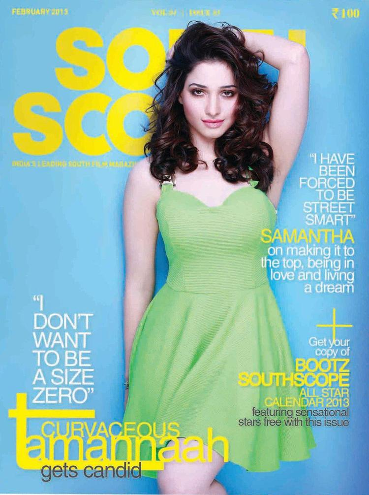 Tamanna Bhatia Dazzling Look On The Cover Of South Scope Magazine Feb 2013