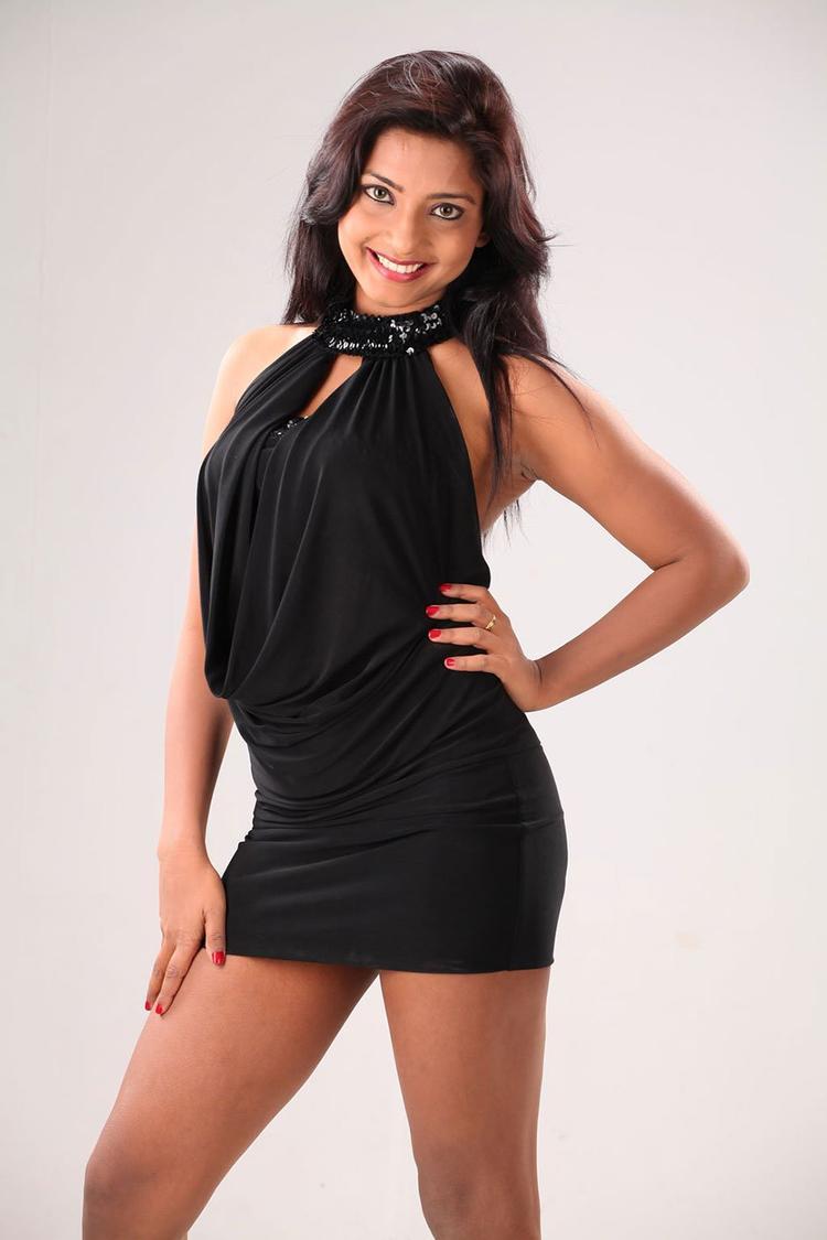 Kamna Charming Look Sexy Photo Still In A Black Mini Dress