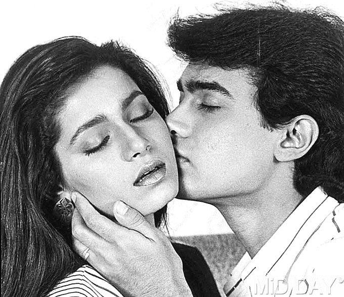 Neelam Kothari And Aamir Khan Hot Kissing Photo Still
