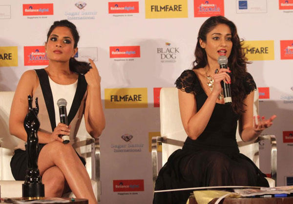 Ileana And Richa Speak Out Photo Clicked At The Launch Of Filmfare Special Award Issue