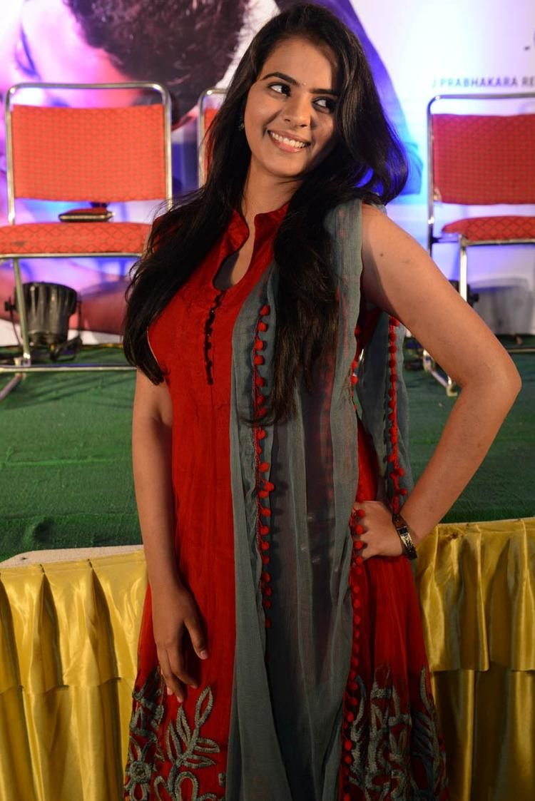 Manasa Smiling Face Look Still At Romance Movie Teaser Launch