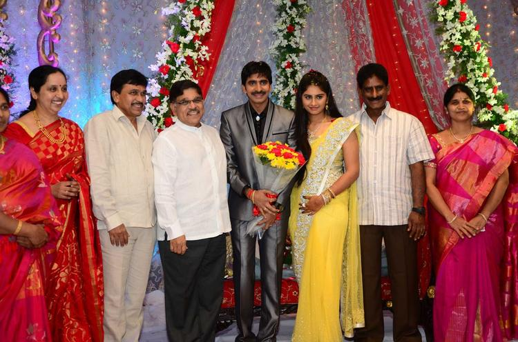 Gopichand With Celebs Smiling Photo Clicked At His Wedding Reception At Avasa Hotel