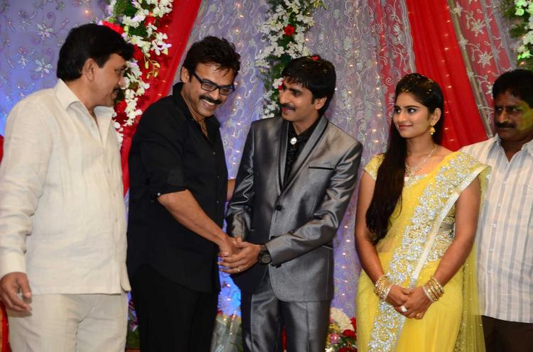 Gopichand With Wife And Venketesh Smiling Photo At His Wedding Reception