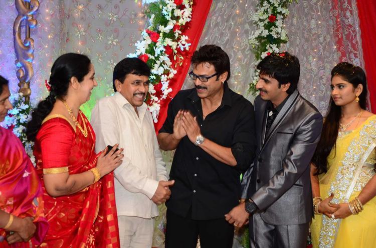 Venkatesh Greets Photo Clicked At Gopichand Malineni Wedding Reception