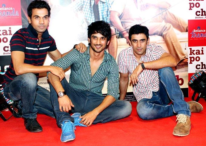 Raj,Sushant And Amit Cool Pose In Red Carpet At Kai Po Che Movie Promotional Event