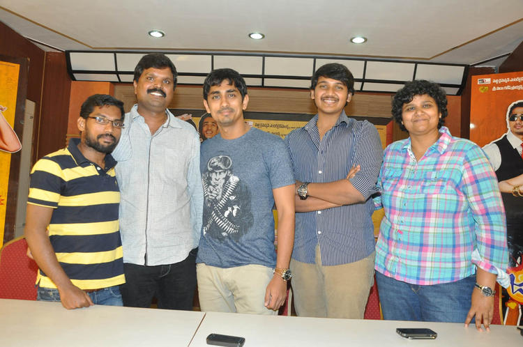Siddharth And Nandini With Team Members Pose For Photo At Jabardasth Press Meet