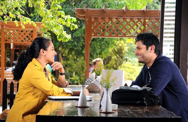 Nitin And Nithya Smiling Look Photo Still From Movie Gunde Jaari Gallanthayyinde