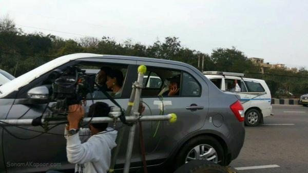 Sonam And Ayushmann Snapped In Car On The Sets Of Their YRF Movie