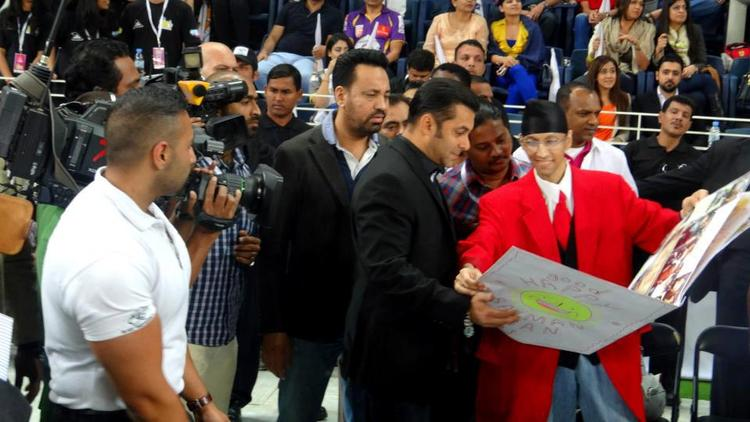Salman And Shera Spotted At CCL 3 Held In Dubai