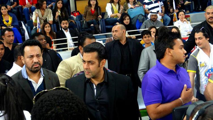Salman With Bodyguard Shera Photo Clicked At CCL 3 Held In Dubai