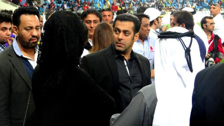 Salman With Bodyguard Shera Snapped At CCL 3 Held In Dubai