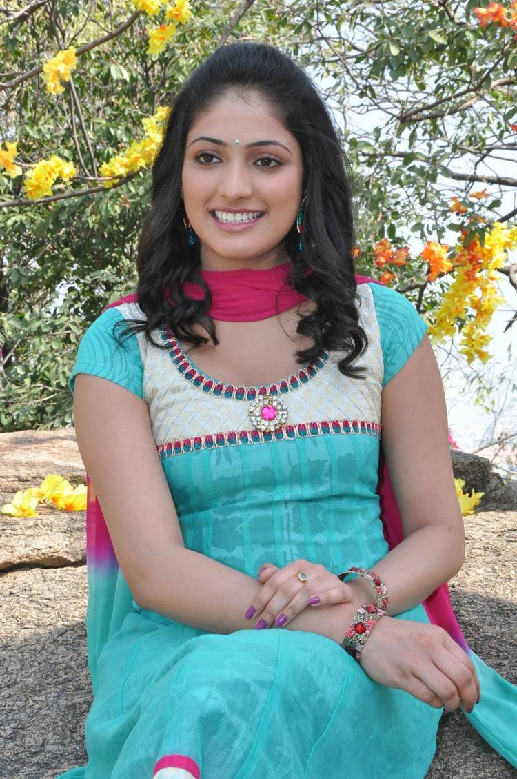 Haripriya Attractive Photo Still In A Sky Chudidar At Ee Varsham Sakshiga Movie Launch Function