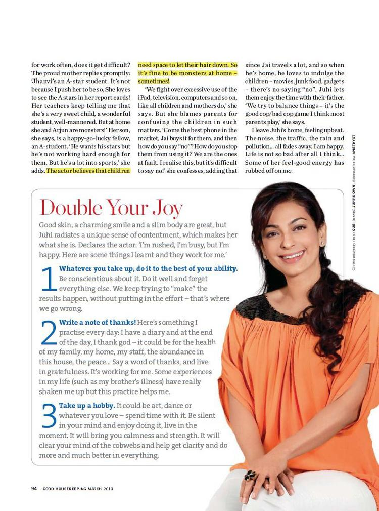 Juhi Chawla Dazzling Look Photo Shoot For Good Housekeeping India March 2013