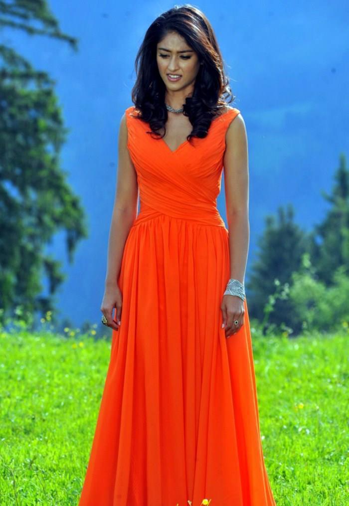 Ileana Fabulous Look Photo Still In Orange Dress