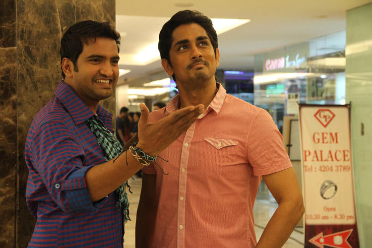 Siddharth And Santhanam  Awesome Expression Photo Still From Movie Theeya Velai Seiyyanum Kumaru