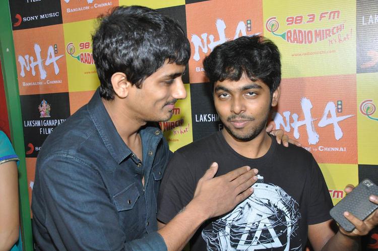 Siddharth And GV Prakash Snapped At Udhayam NH4 Movie Audio Launch