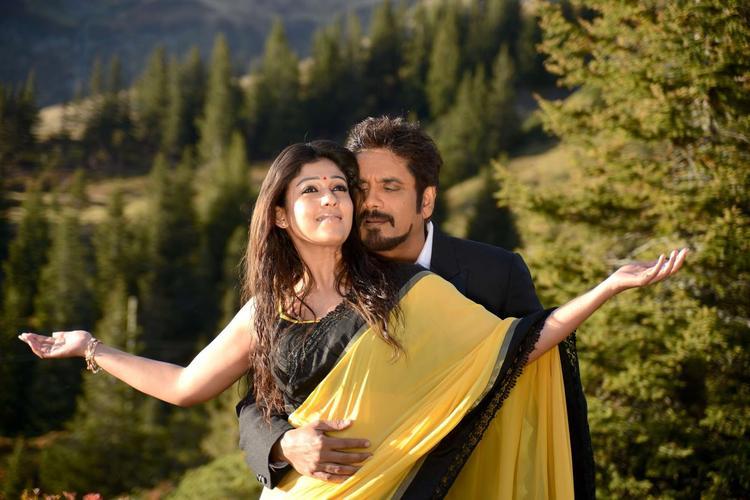 Nagarjuna And Nayantara Back Hug Photo Still From Movie Greeku Veerudu