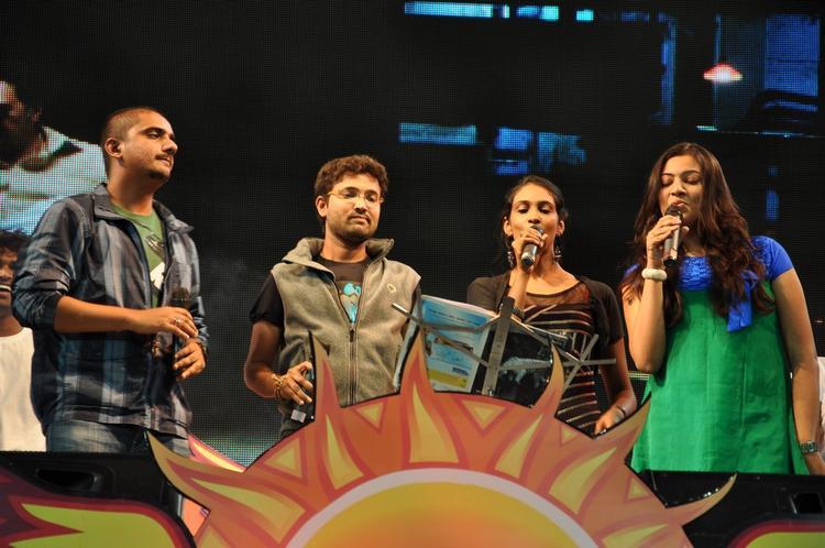 Geeta Madhuri Wit Friends Singing Photo Clicked At Gouravam Audio Launch