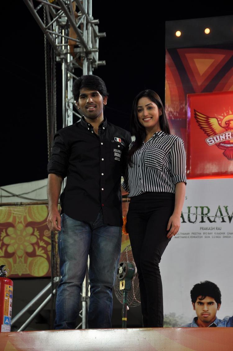 Sirish And Yami Gautam Pose For Camera At Gouravam Audio Launch