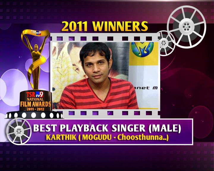 Singer Karthik Is The Winner Of Best Male Playback Singer For Choosthunna Song In TSR TV9 Awards 2011