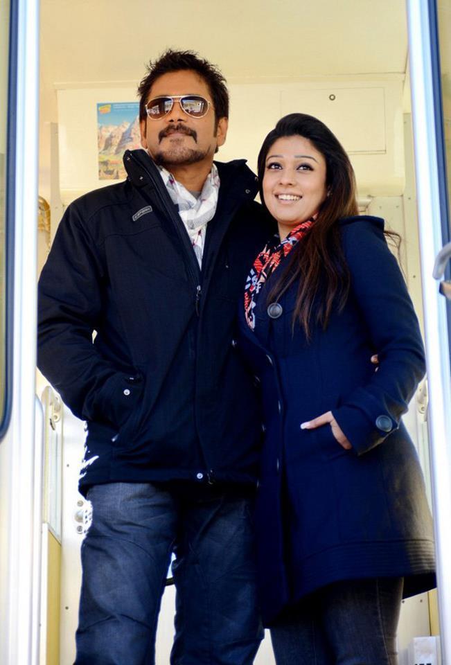 Nagarjuna And Nayantara Dapper Look In Blue Jacket In Movie Greeku Veerudu